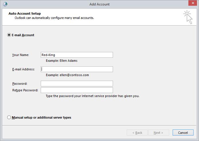 Outlook Add Account Screenshot