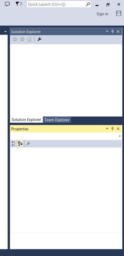 Docking Solution Explorer over Properties Window-MS Visual