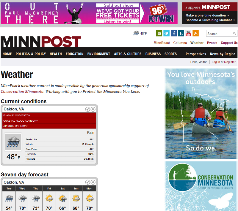 Screen Shot of MinnPost web page