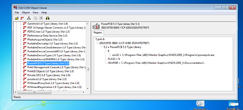 Windows 7: PADS type library installed