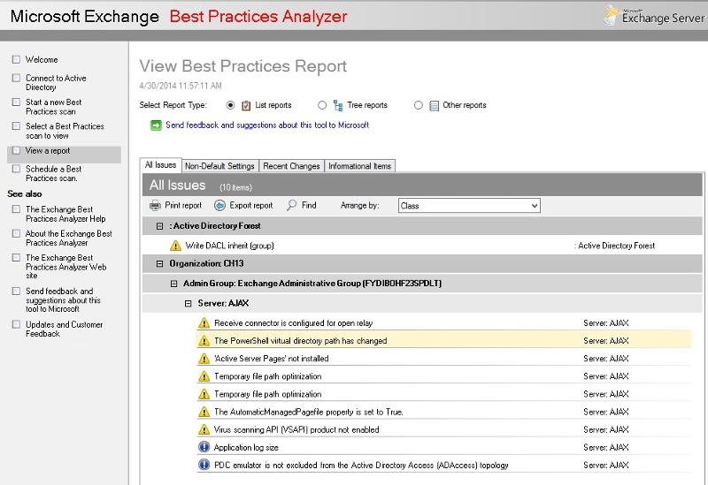 Best Practice Analyzer Report Results