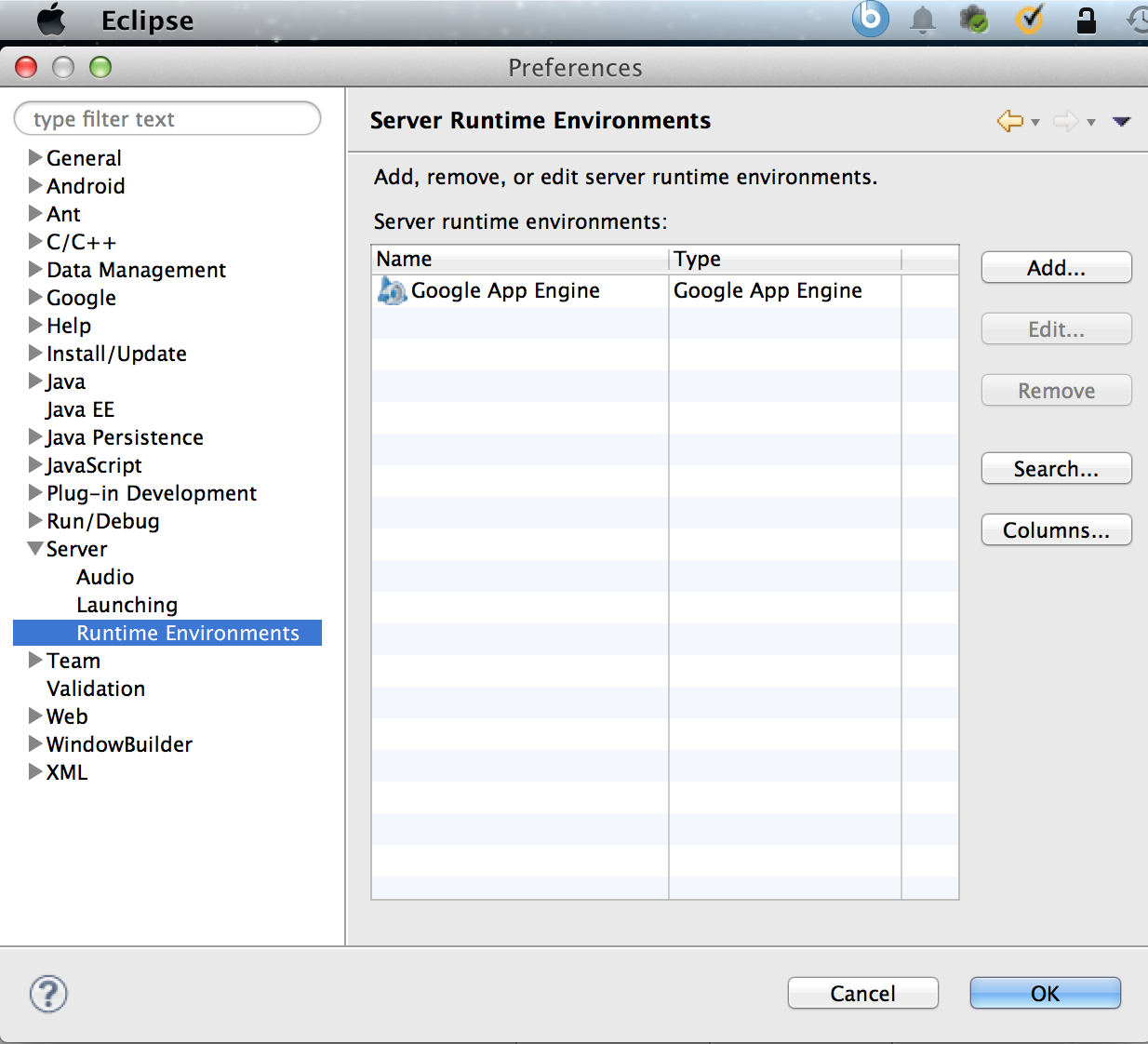 Setup Tomcat on Eclipse in Mac