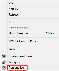 Desktop Context Menu - Personalize