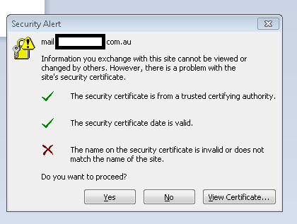 Outlook 2007 - Example of Certificate Request