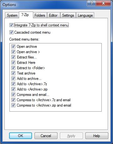 7-Zip context menu settings