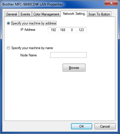 Set scanner IP address