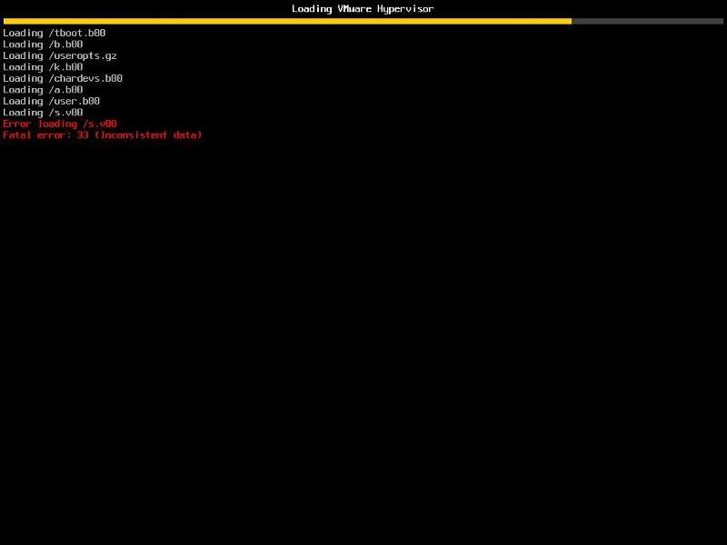 Error loading /s.v00 Fata error: 33 (Inconsistent data) in the VMware vSphere Hypervisor