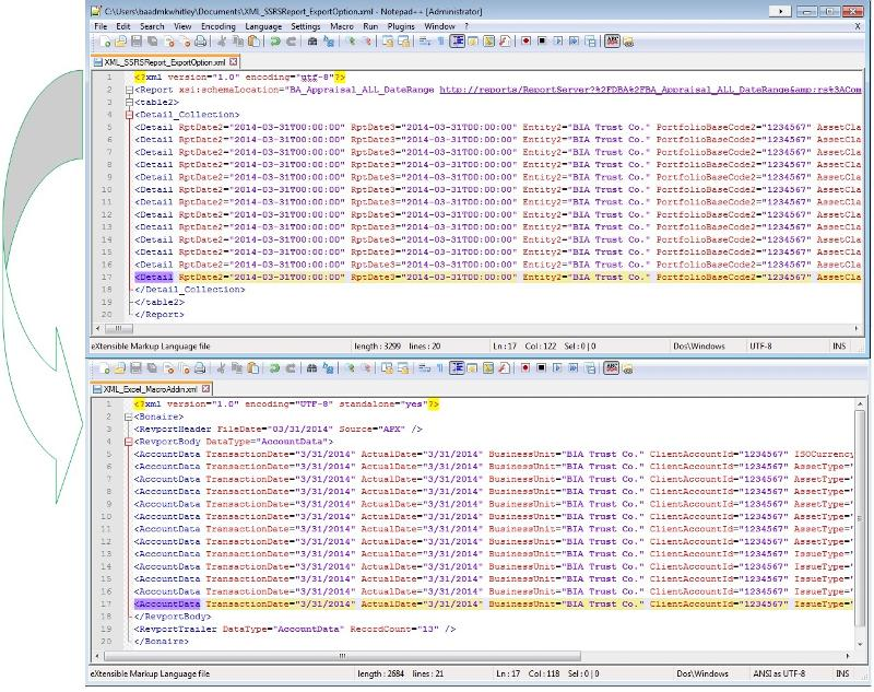 Example screenshot of XML files