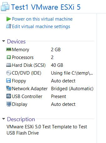 VMware Workstation 9 ESXi Server Virtual Machine Settings