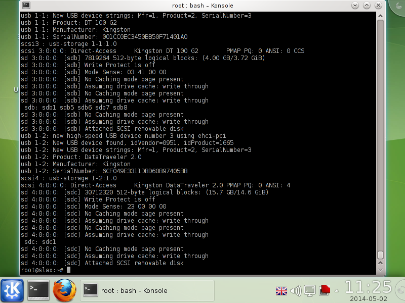 terminal mode, and dmesg reports usb devcies