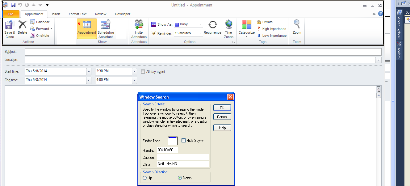 Com Hide Button In A 3rd Party Windows Form Using The Webbrowser Control Aspnet Codeproject Spy Window Search