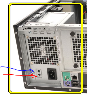 Power switch and button in the power supply must be pushed
