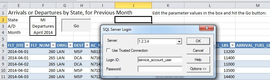 Excel VBA code to refresh connection to SQL Server stored