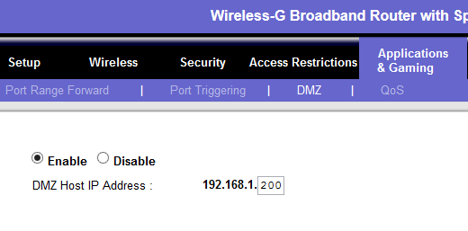 linksys dmz setting