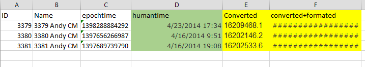 Help Converting Epoch Time to Excel/Access Dates