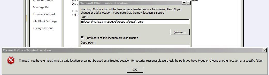 excel secure temp folder