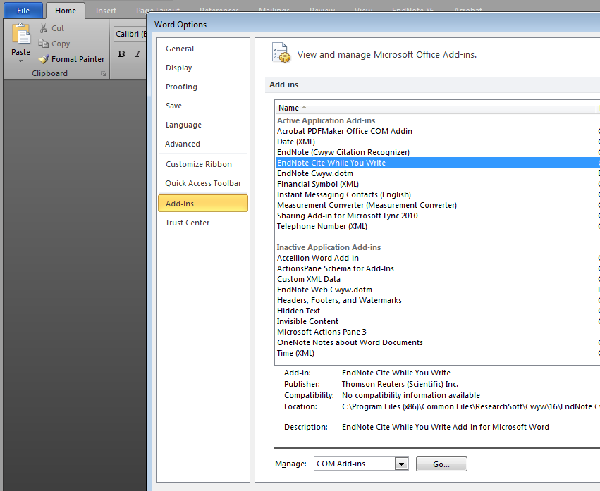 Disable Active Application Add Ins In Ms Word 2010 With Vbs