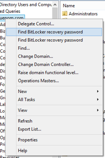 Find bitlocker recovery password listed twice in ADUC