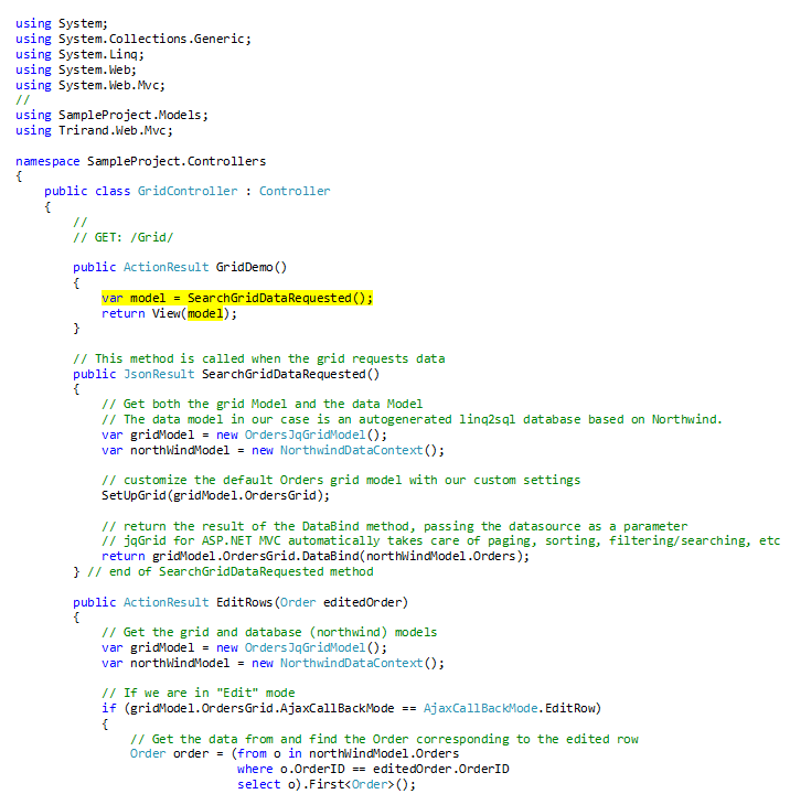 How to integrate jqGrid widget on ASP NET MVC 4