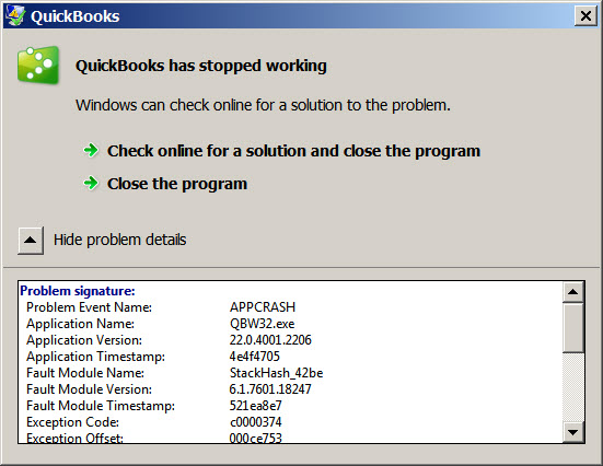 stopped working details screen 1