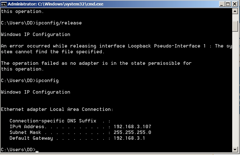 Can\u0027t release or renew IP address