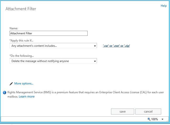 Microsoft Exchange 2013 attachment filtering - specifically  ZIP