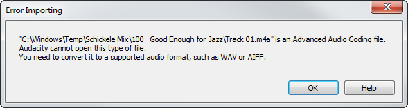 Opening M4A files in Audacity