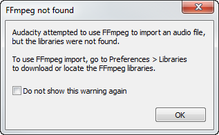 audacity attempted to use ffmpeg