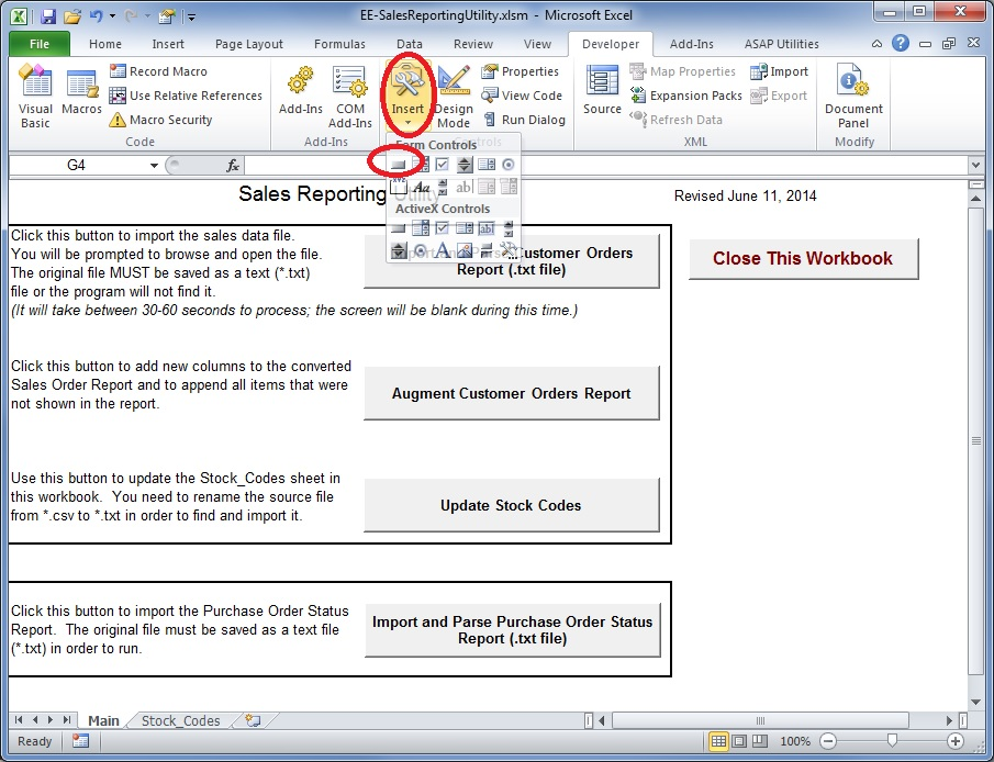 Excel button to trigger the macro