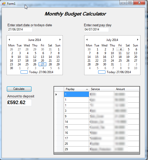 c# monthly budget calculator