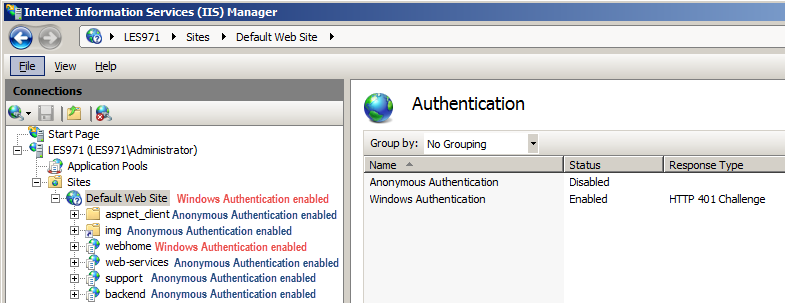In IIS 7 5, does Windows Authentication applied to Default