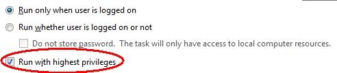 Task Scheduler run elevated