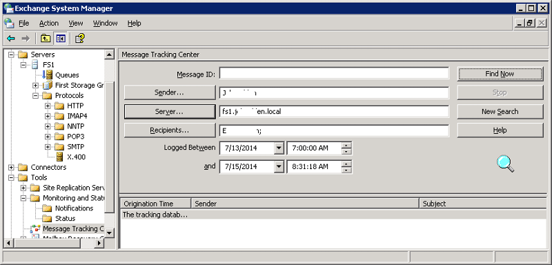 Message Tracking Center