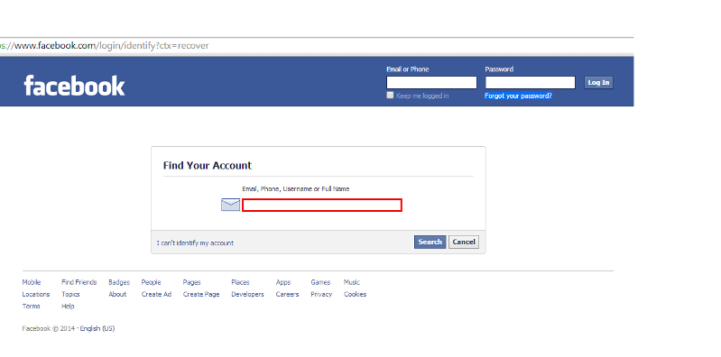 Reset Facebook Account Details
