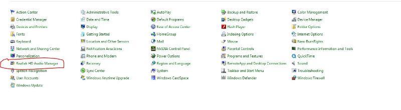 1-Realtek HD audio Manager