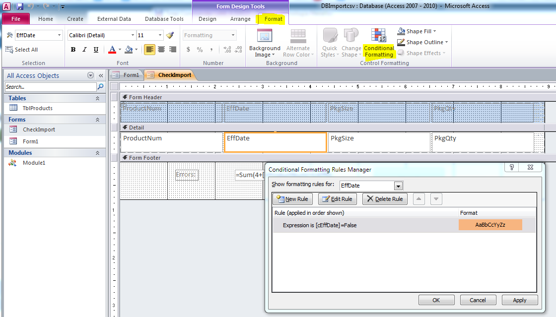 Access Code to Import CSV file and validate format and