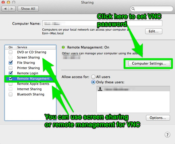 How to activate VNC