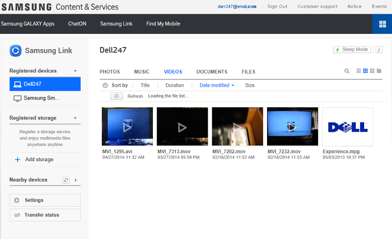 Samsung Link page - Videos tab (click for larger)