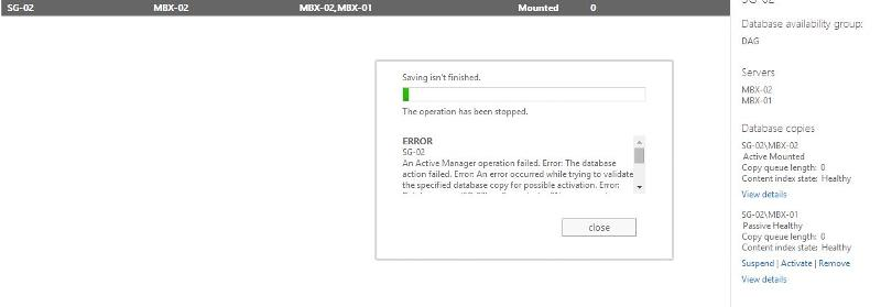 This is what happens when I try to activate the database SG-01 on MBX-01.