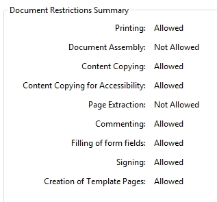 Document Restrictions in Adobe Reader
