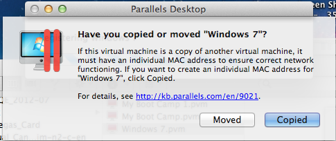 Error Generated by Parallels Desktop 9 when attempting to run Windows7.vpm