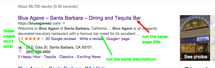 "Google search results for terms ""blue agave santa barbara"""