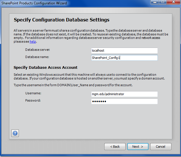 SharePoint SQL database Settings