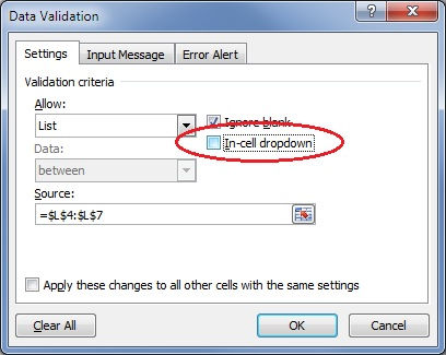 in-cell dropdown option