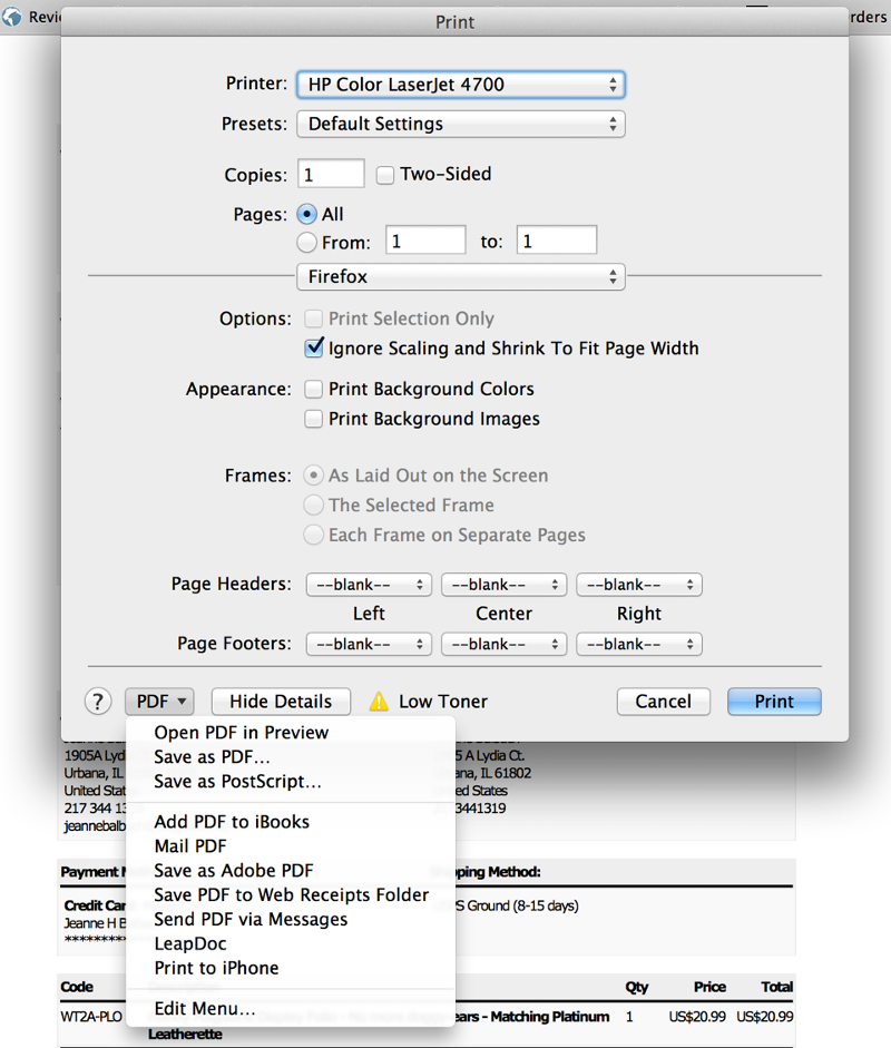 email pdf from print dialog