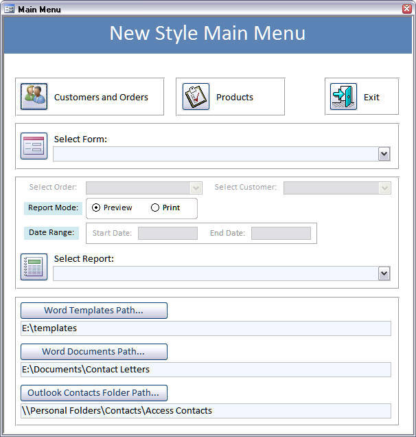 New Style main menu