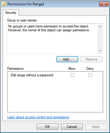 Permissions for protected range dialog