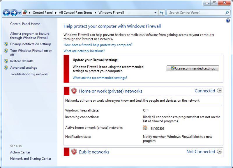 Windows 7 x64 firewall setting