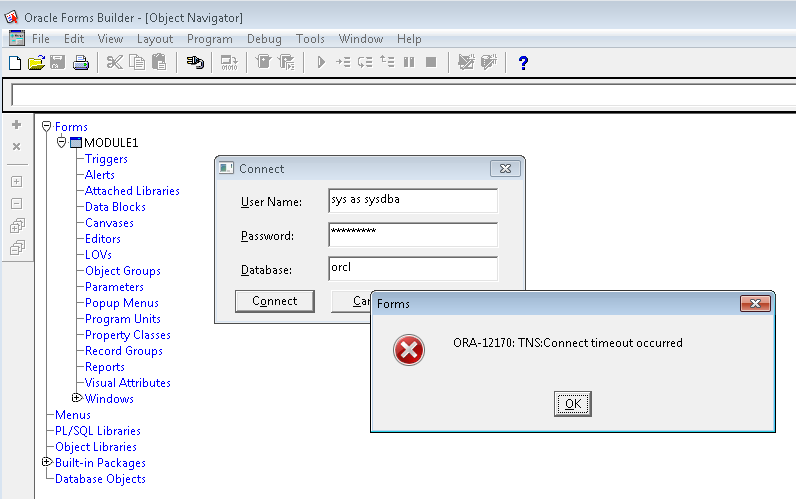 Oracle forms can't connect