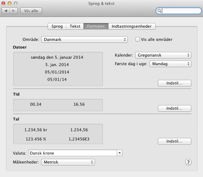 Systems settings on the Mac